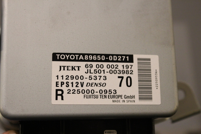 Toyota Yaris Steering Control Unit Ecu -  - Toyota Yaris 2012 Petrol 1.3L Code 1NR Manual 6 Speed 5 Door